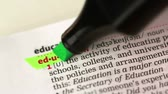 marcador : Definition of education highlighted in the dictionary