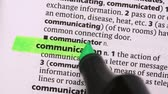 marcador : Communication highlighted in green in the dictionary