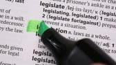 marcador : Legislation highlighted in green in the dictionary