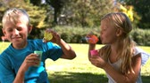 sister : Cheerful siblings having fun together with bubbles in slow motion