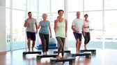 studio : Aerobics class stepping together at the gym