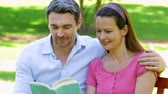 lifestyle : Happy couple sitting on a park bench reading together on a sunny day