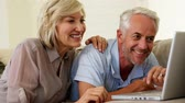 calm : Cheerful couple using laptop together at home in the living room