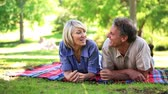 woman : Happy couple lying on a blanket in the park on a sunny day