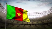 camarões : Cameroon national flag waving on flagpole in football stadium with flashes
