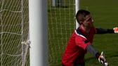 field : Goalkeeper in red letting in a goal during a game in slow motion Stock Footage