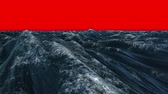 storm : Digitally generated blue ocean swelling on red background