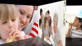 woman : Animation of families celebrating children birthday at home