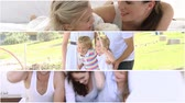 brother : Montage of happy families having fun outdoor Stock Footage