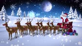 bez szwu : Digital animation of Cartoon santa waving at camera with sled and reindeer