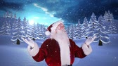 gerado por computador : Digital animation of Santa standing beside snowy forest