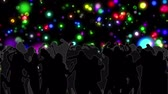 gerado por computador : Digital animation of dancing crowd with glowing circles of light moving on black