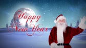 gerado por computador : Digital animation of Santa presenting new year message in snowy landscape