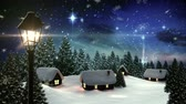 digital : Digital animation of Snow falling on cute village in forest