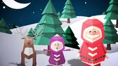 gerado por computador : Digital animation of Cute christmas characters with greeting