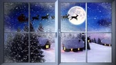 animals : Digital animation of Santa flying past window in the snow