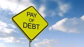 pay off : Digital animation of Pay off debt sign against blue sky Stock Footage