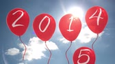 ensolarado : Digital animation of 2015 balloons against blue sky