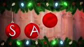 bombki : Digital animation of Hanging baubles spelling out sale