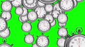 načasování : Digital animation of Stopwatches falling on green background