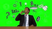 ön plan : Digital animation of Businessman on a call with business doodles appearing around him on green screen