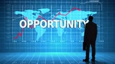 information : Digital animation of Businessman in front of global business interface with the word Opportunity