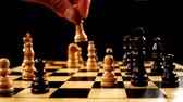 knight : Chess player making a move in slow motion Stock Footage