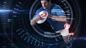 fitness : Digital animation of Futuristic technology tracking athletes movements