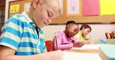caucasian : Young little boy drawing with pencil in class