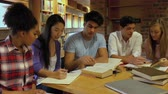 caucasian : Classmates studying in library at university smiling at camera