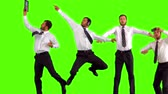 finding : Series of jumping businessman in slow motion on orange background Stock Footage