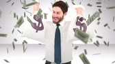 caucasian : Composite video of happy businessman holding money bags Stock Footage