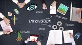 icon : Business people hands working with innovation in middle