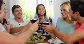 saúde : Happy friends having healthy lunch with wine in slow motion Stock Footage