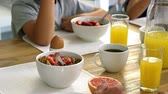 bowl : Traveling of healthy breakfast with coffee and orange juice Stock Footage