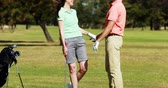 удара : Two golfer players playing golf together at golf course 4k