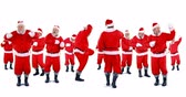 studio : Group of santa claus dancing on white background 4k Stock Footage