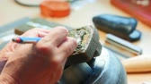 creative : Close-up of craftswoman working in workshop 4k Stock Footage