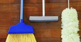 süpürge : Broom, duster and floor cleaner on wooden table