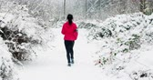 фитнес : Rear view of woman jogging on snow covered path during snowfall