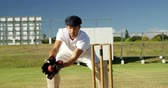 batedor : Wicket keeper collecting ball behind stumps during match on cricket field