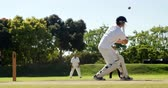 batedor : Wicket keeper taking a catch during match on cricket field Stock Footage