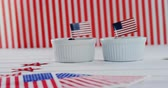 tatarak : Blueberries in bowl with American flag on wooden table