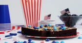 tatarak : Sweet food decorated with 4th july theme on plate Wideo