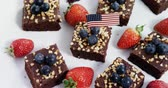 tatarak : Close-up of sweet food decorated with 4th july theme on tray