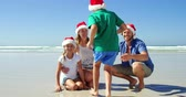 liberdade : Happy family in santa hats posing at beach on a sunny day Vídeos