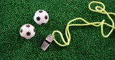 árbitro : Overhead of footballs and referee whistle on artificial grass 4k