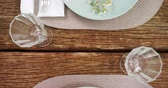 ceramic : Close-up of various cutlery on wooden table 4k