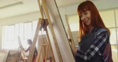 perfection : Woman drawing sketch on canvas in drawing glass 4k