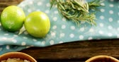 citrus fruit recipe : Overhead of various ingredient on wooden table 4k